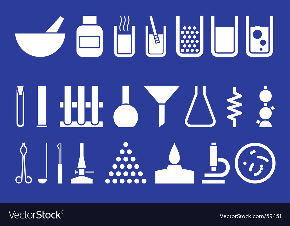Laboratory equipment set of pictogr vector