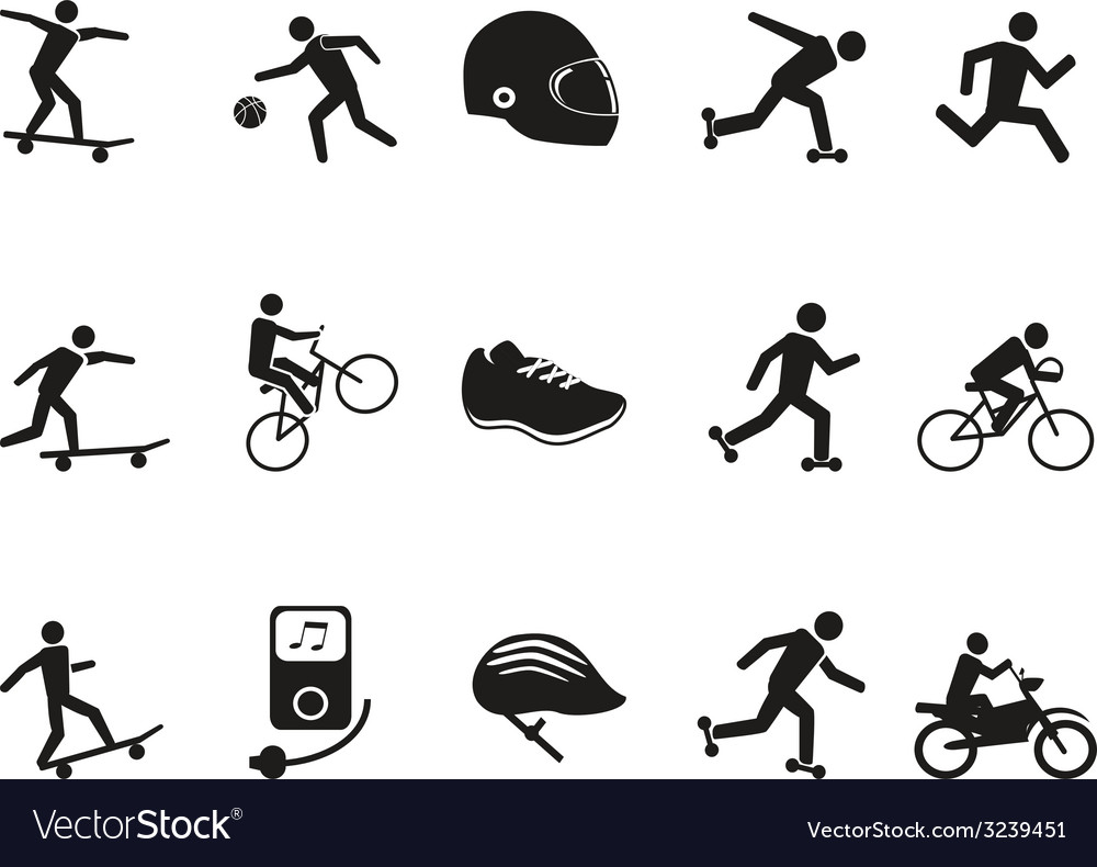 Street sport biking skating skateboarding icons vector