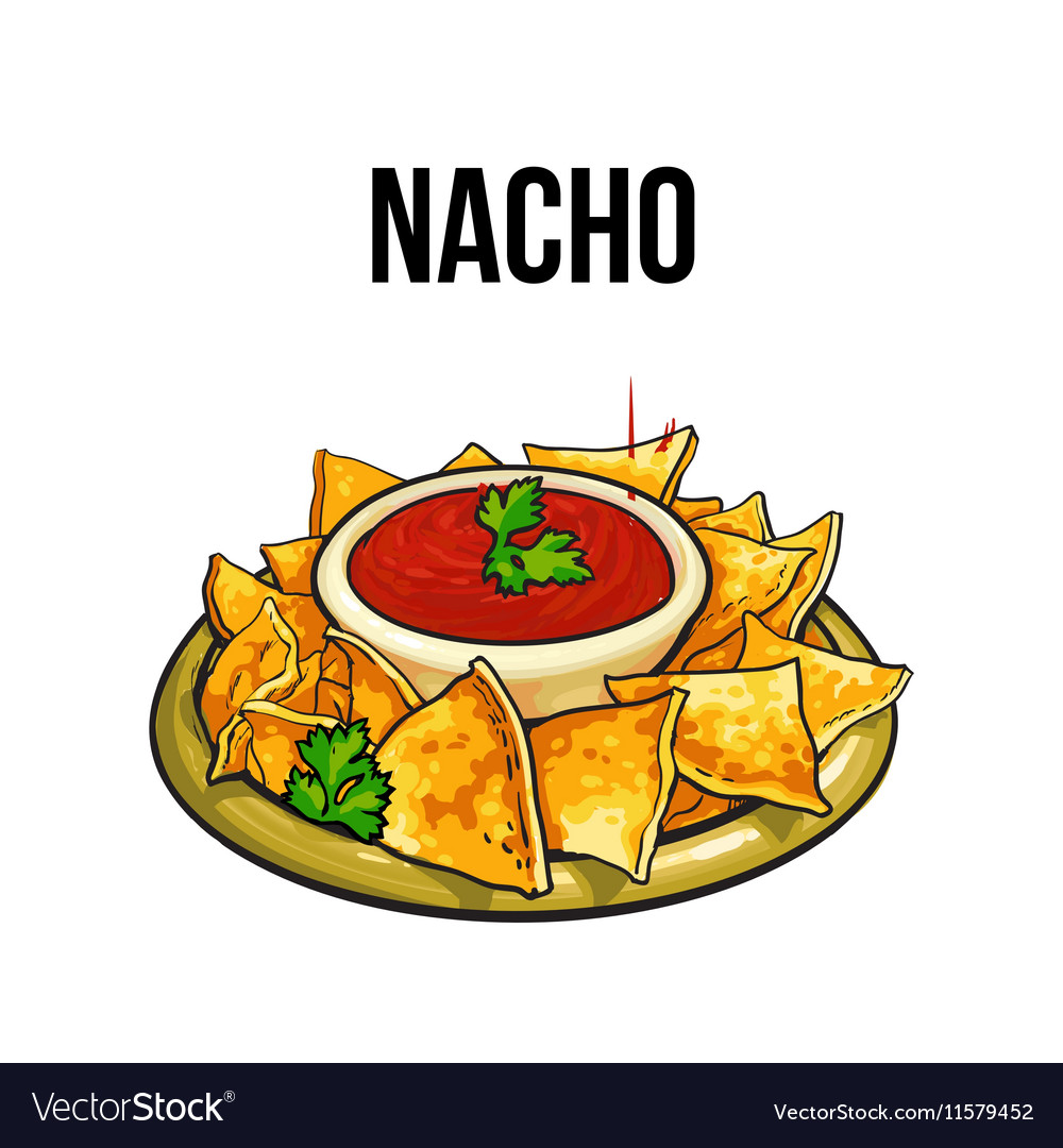 Mexican nachos corn tortilla with salsa sauce vector