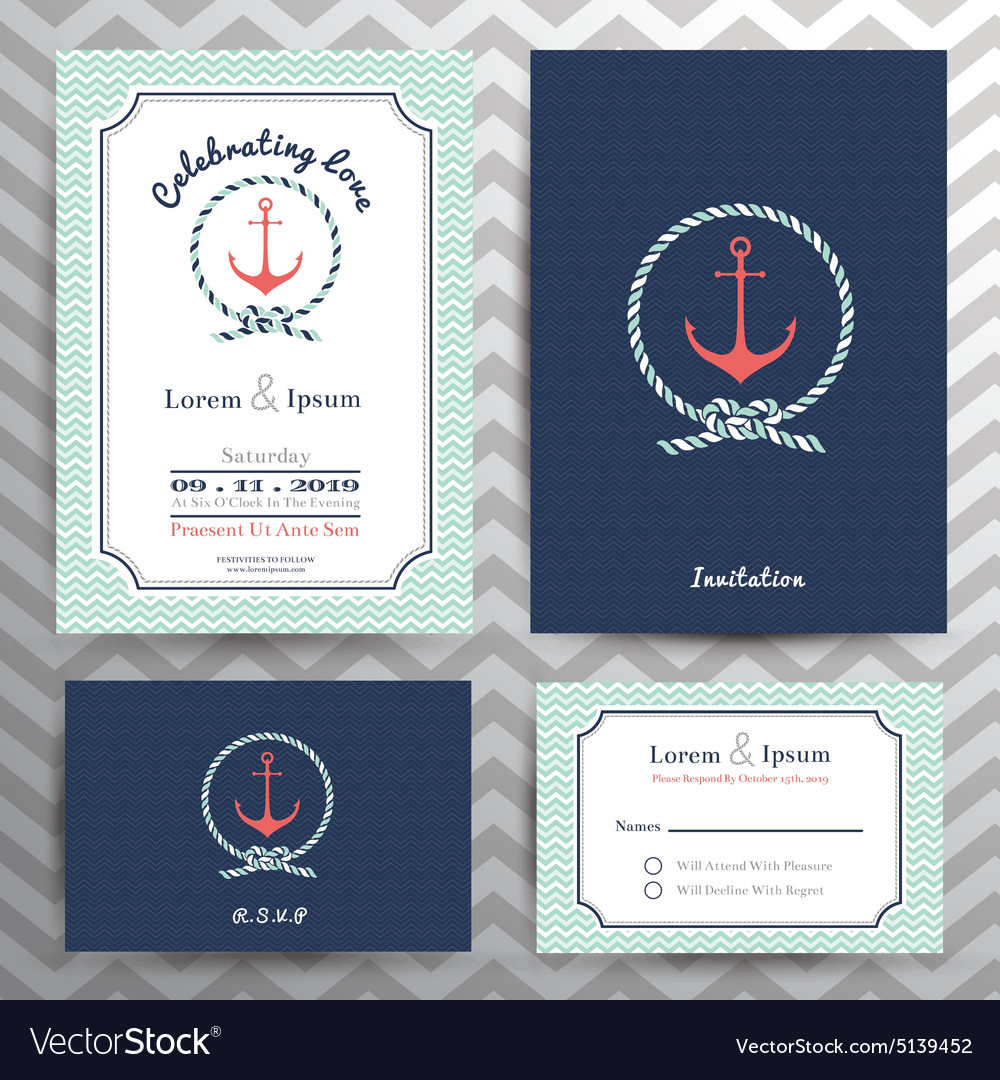 Nautical wedding invitation and rsvp card template vector