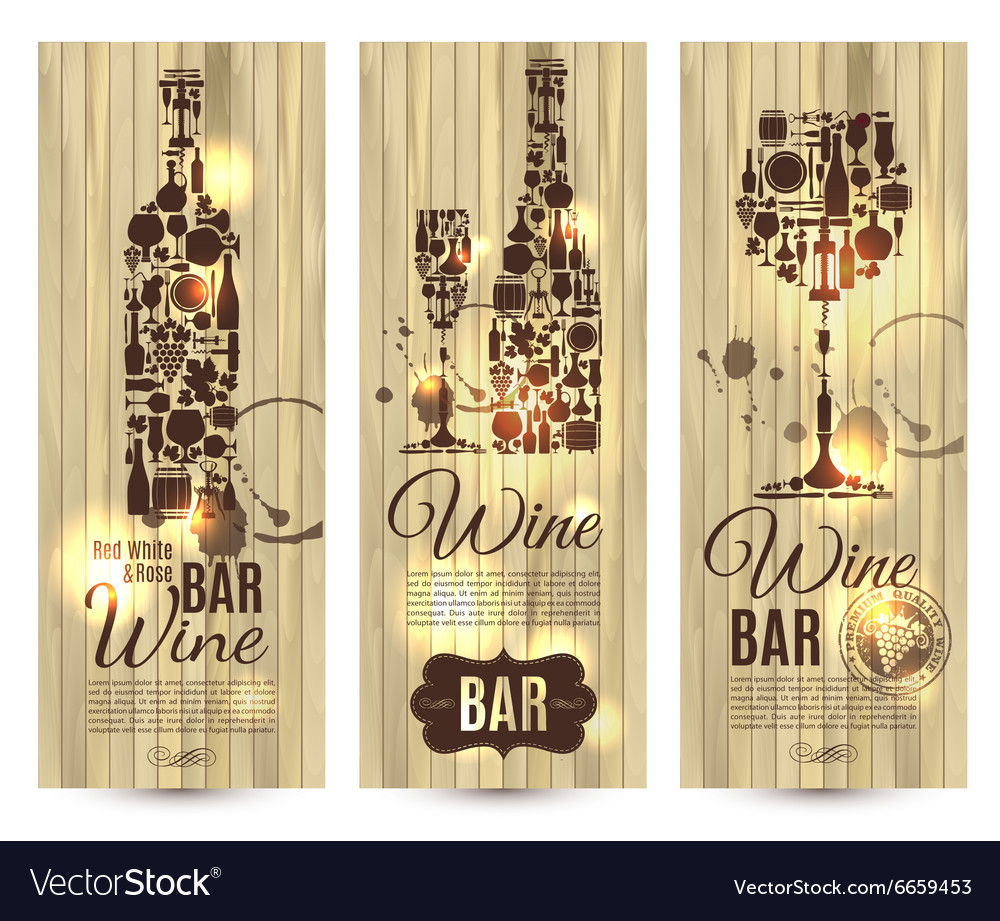 Wine bar menu cardbanners set on wood vector