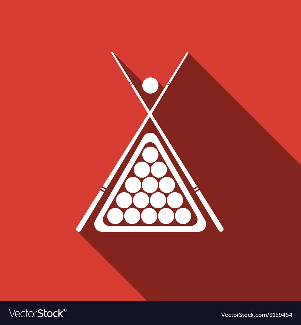 Billiard cue and balls icon with long shadow vector