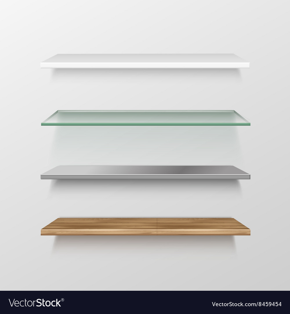 Set of empty wood glass metal plastic shelves vector