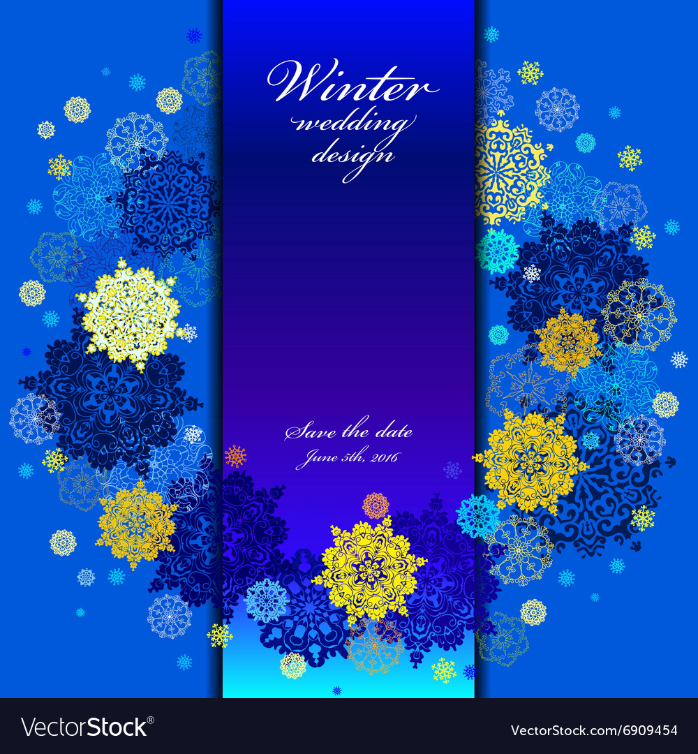 Wedding snowflakes wreath frame design winter vector
