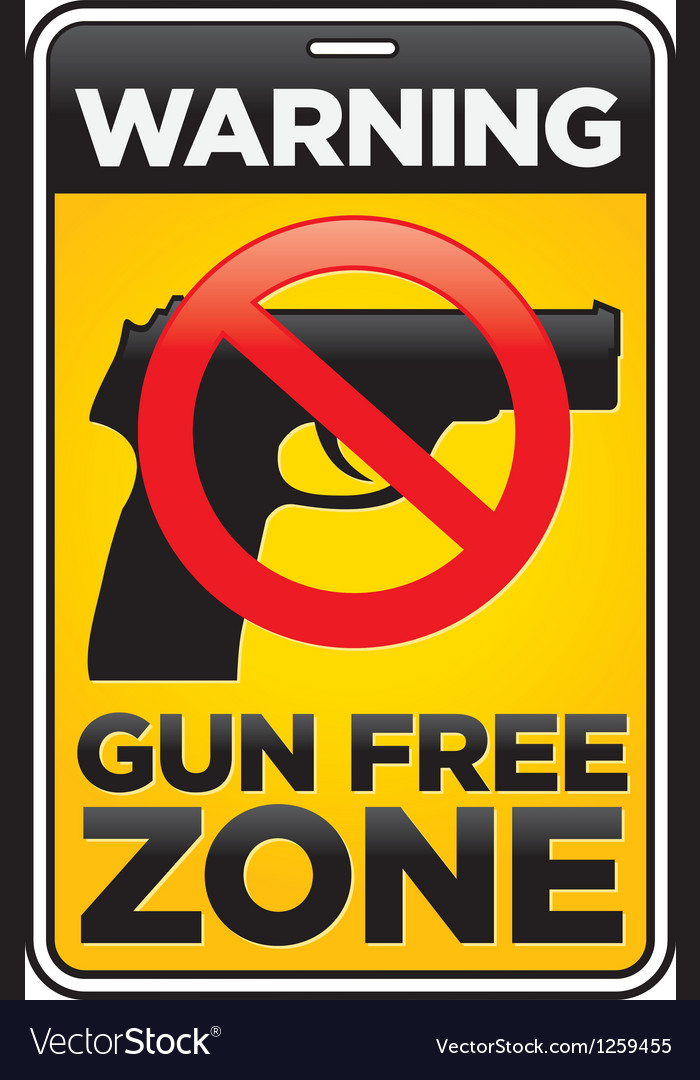 Gun free zone sign vector
