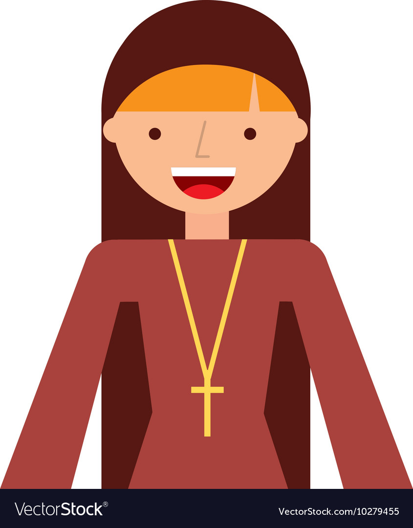 Nun woman character isolated icon vector