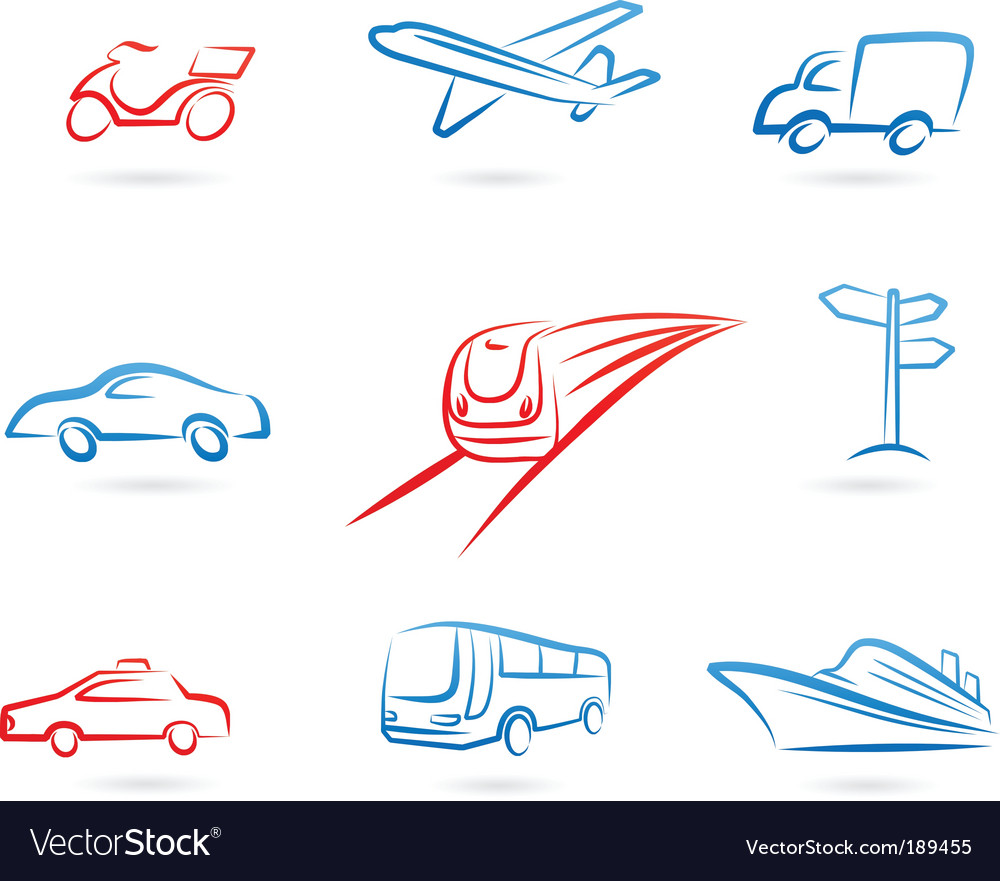 Transport icons and logos vector