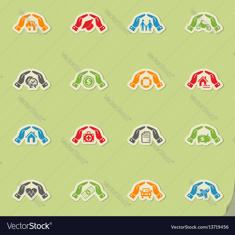Insurance hand icon set vector