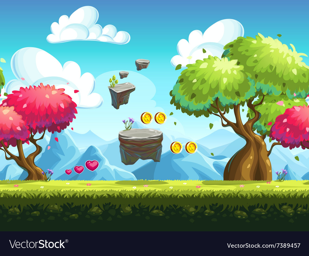 Seamless background flying rocks vector