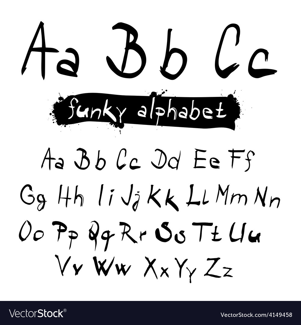 Abc  abc funky black hand written alphabet set vector