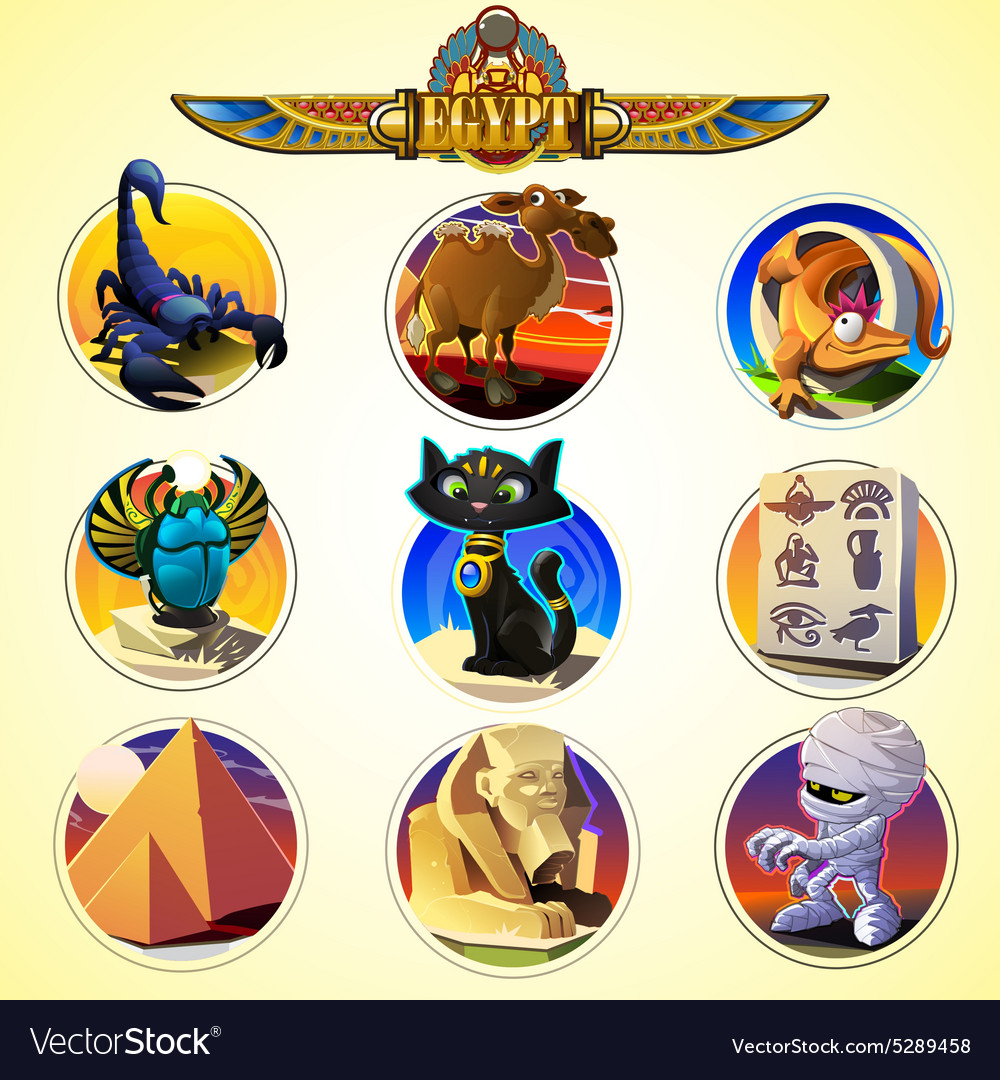 Egypt icons and design elements isolated vector