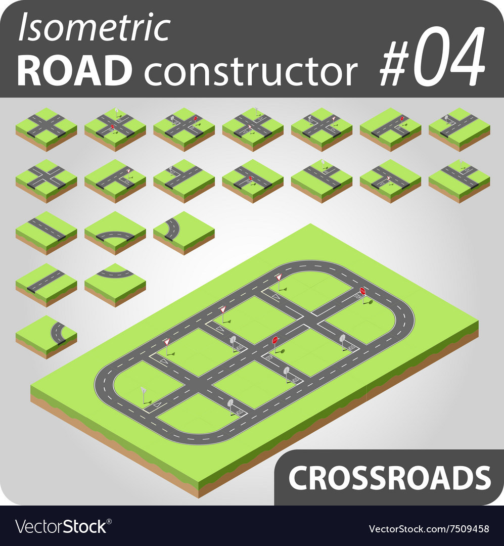 Isometric road constructor  03 vector