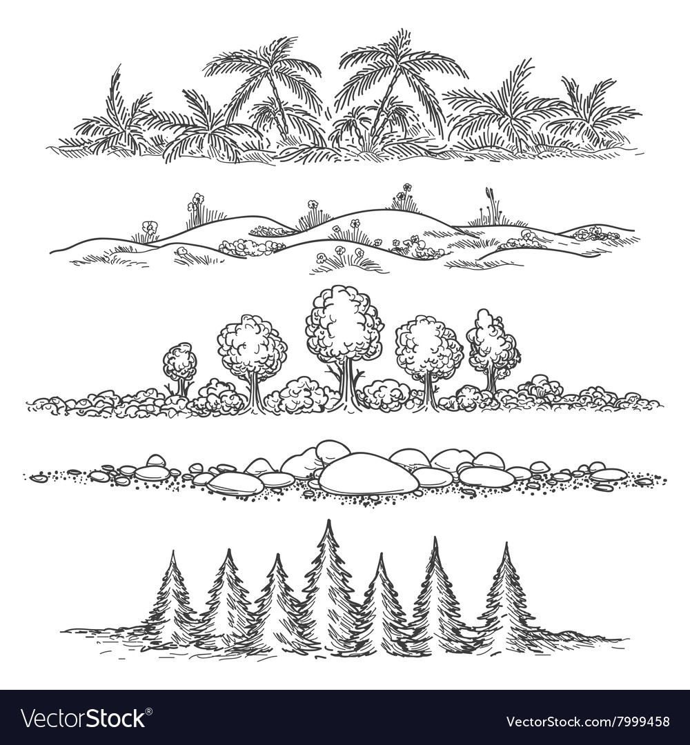 Nature line landscape set vector