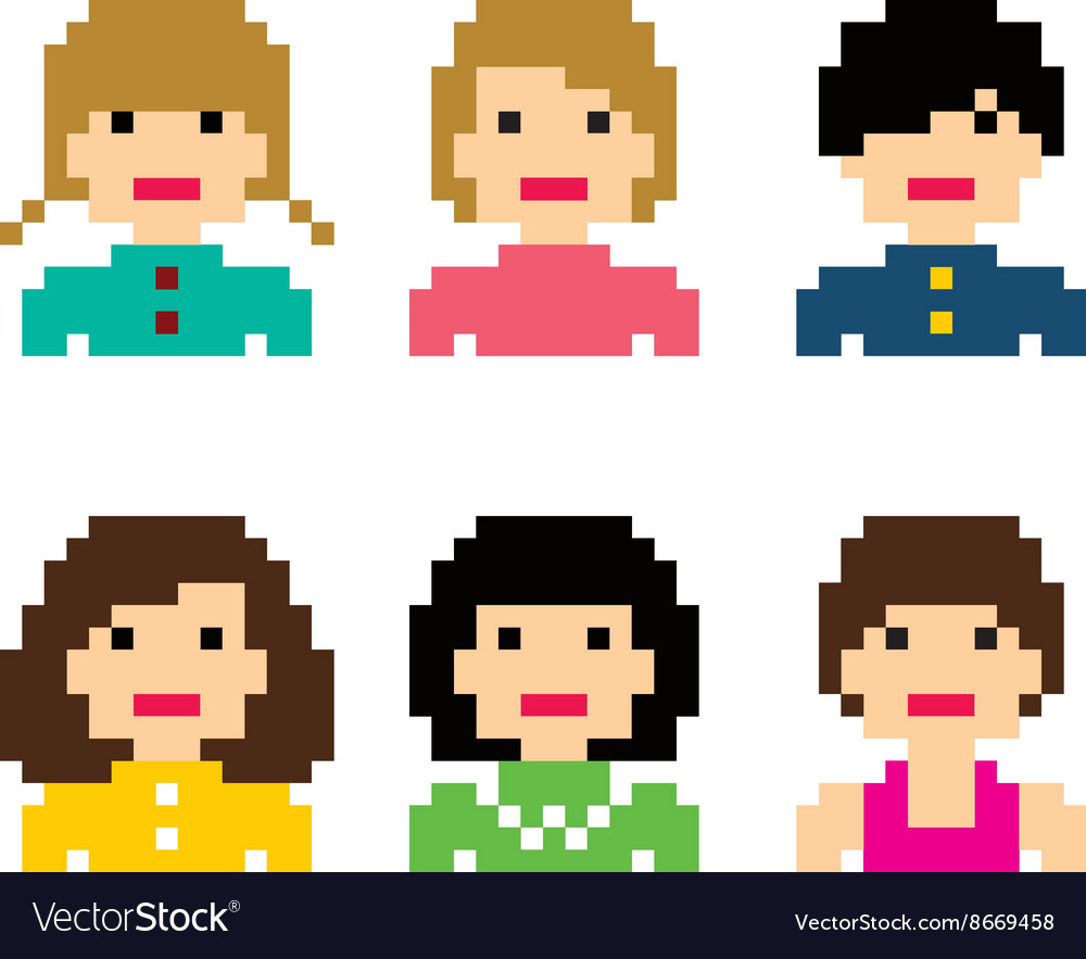 Pixel people woman avatar set vector