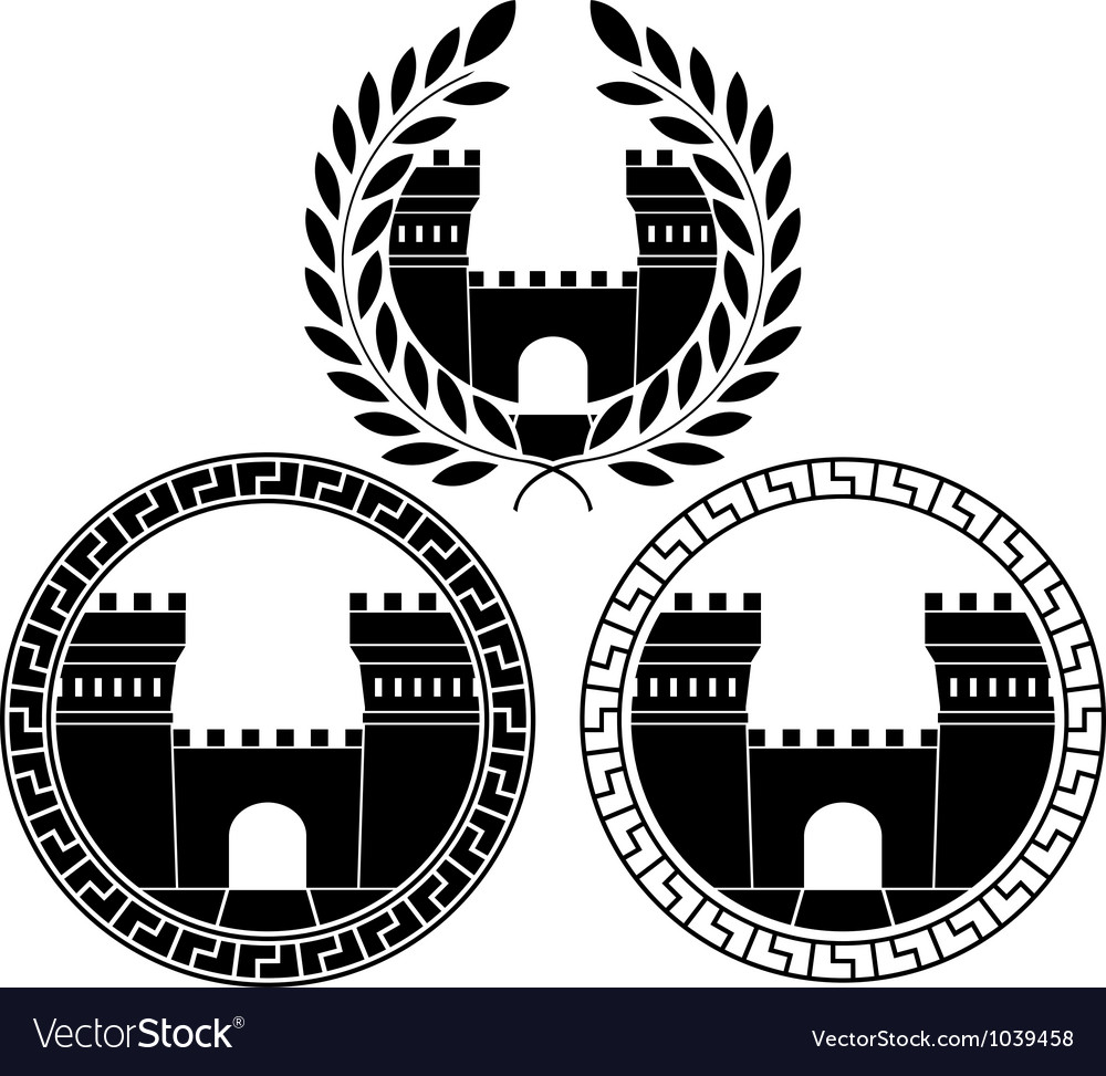 Set of castle gates vector