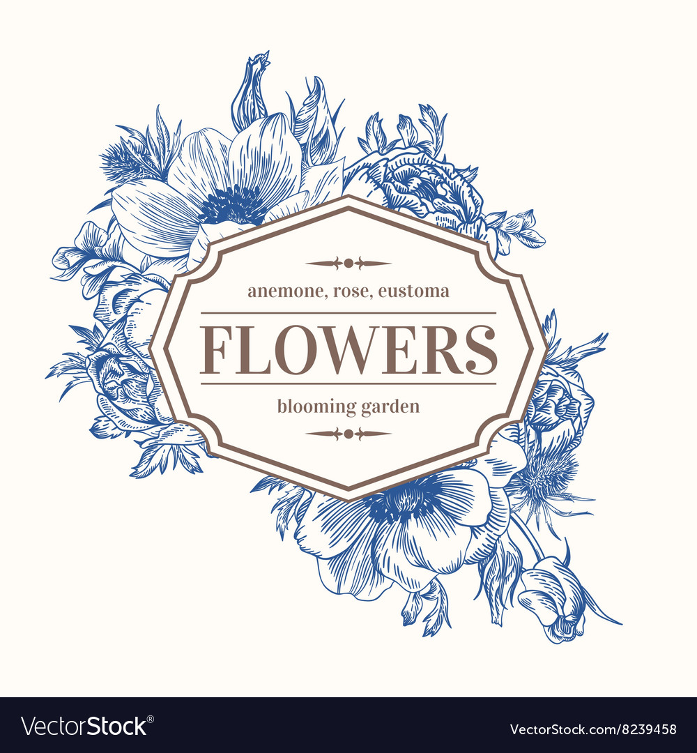 Vintage frame with summer flowers vector