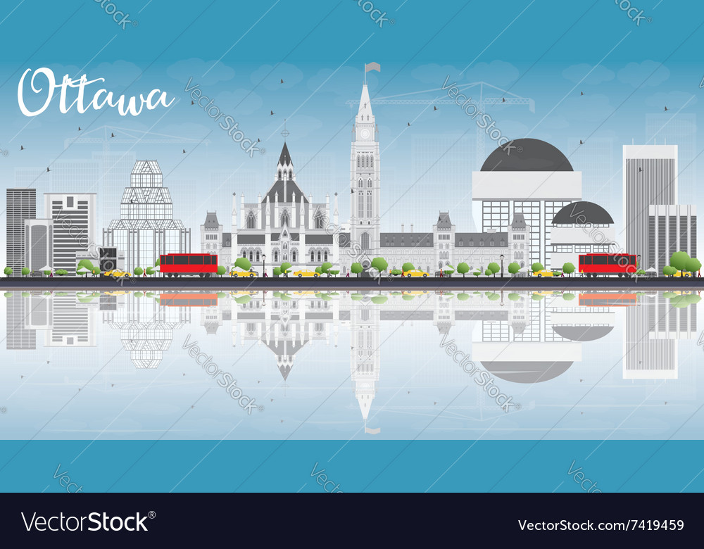 Ottawa skyline with gray buildings blue sky vector