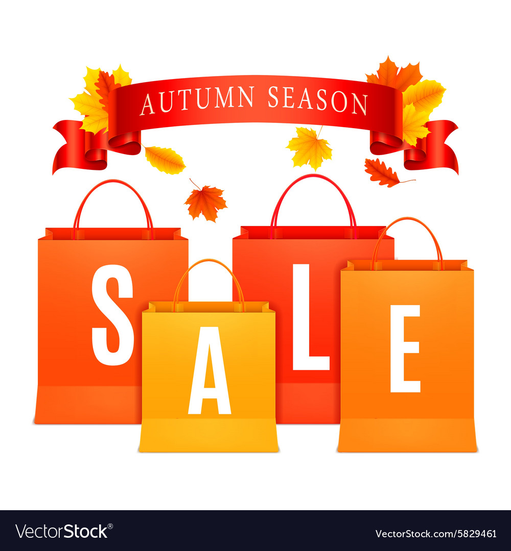 Autumn sale shopping bags vector