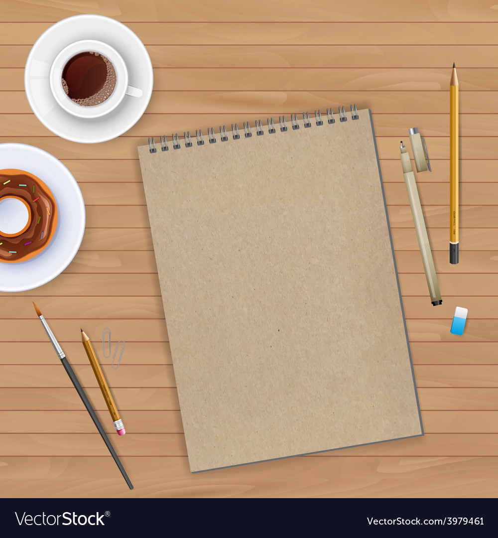 Workspace with notebook and coffee vector
