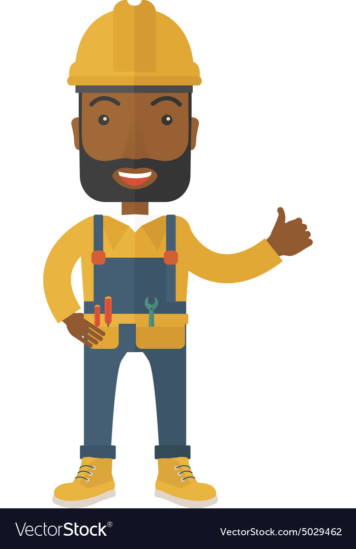 A happy carpenter wearing hard hat vector