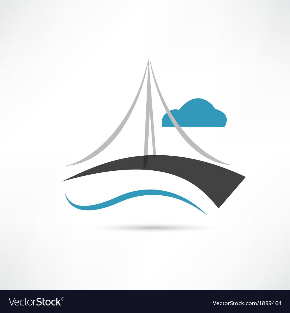 Big bridge icon vector