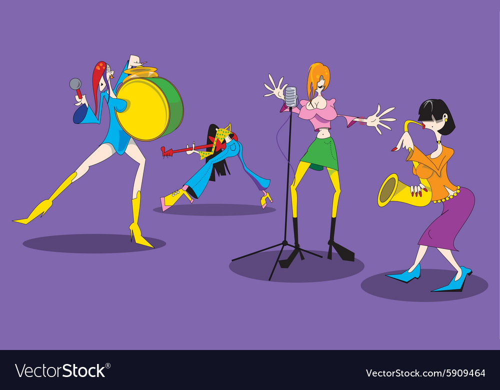 Cartoon female music group vector