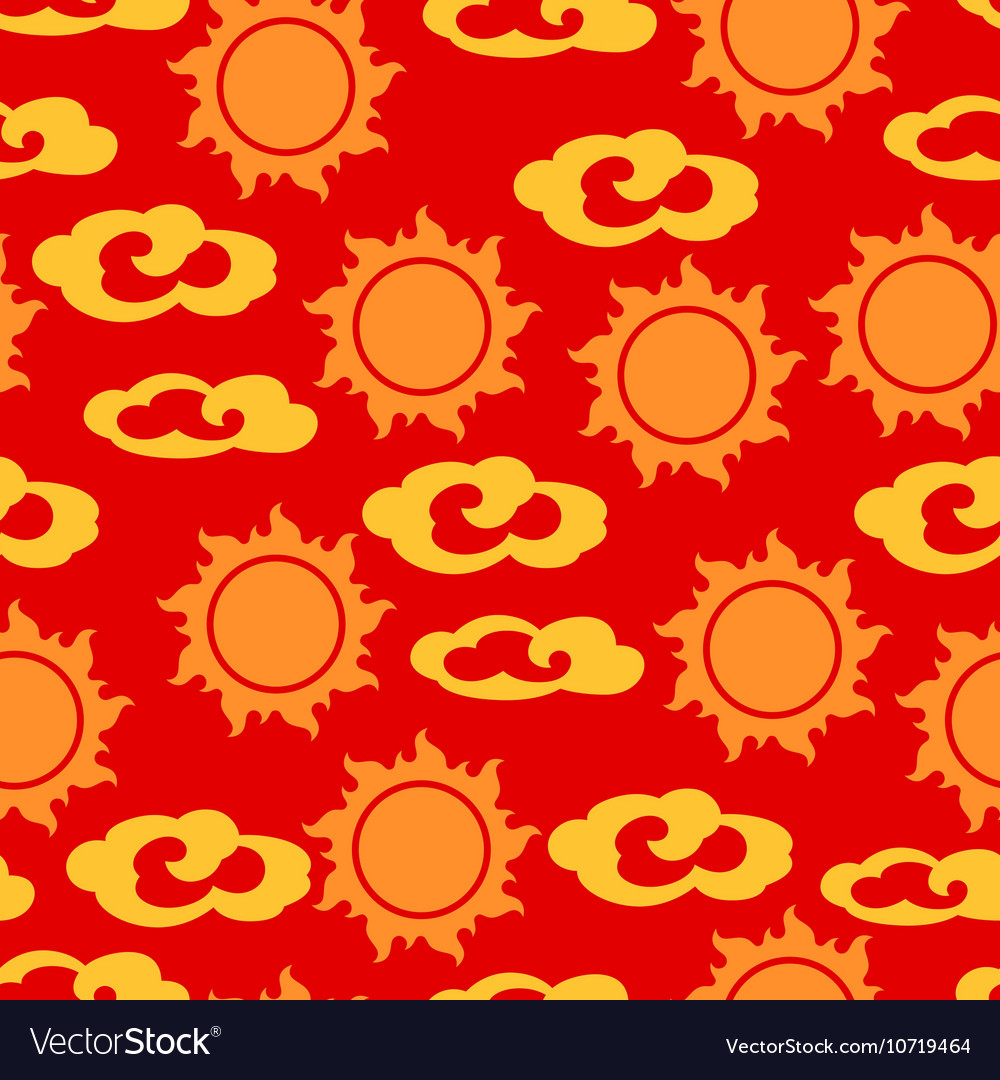 Seamless pattern with sun and clouds in chinese vector