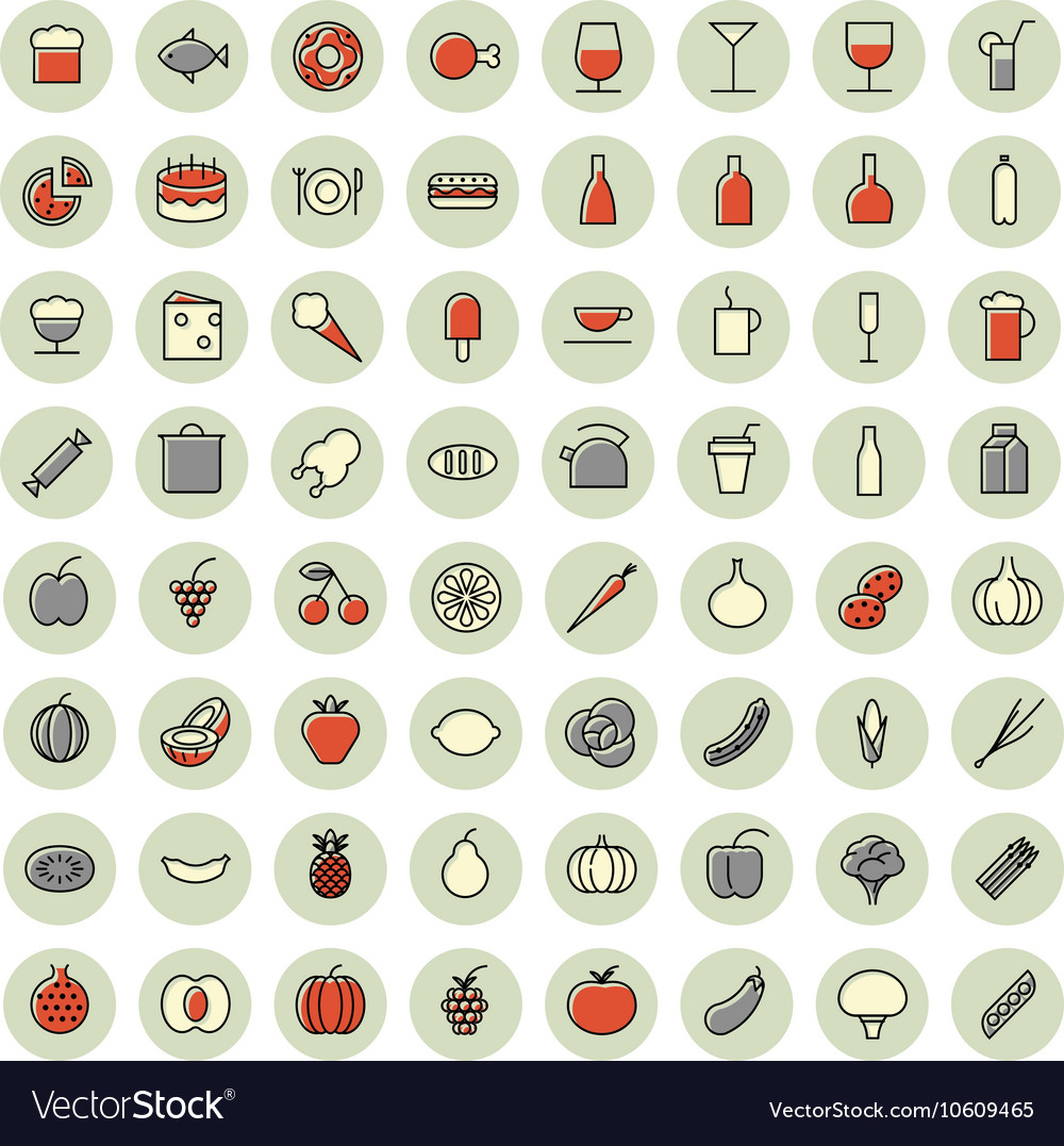 Icons thin red all food vector