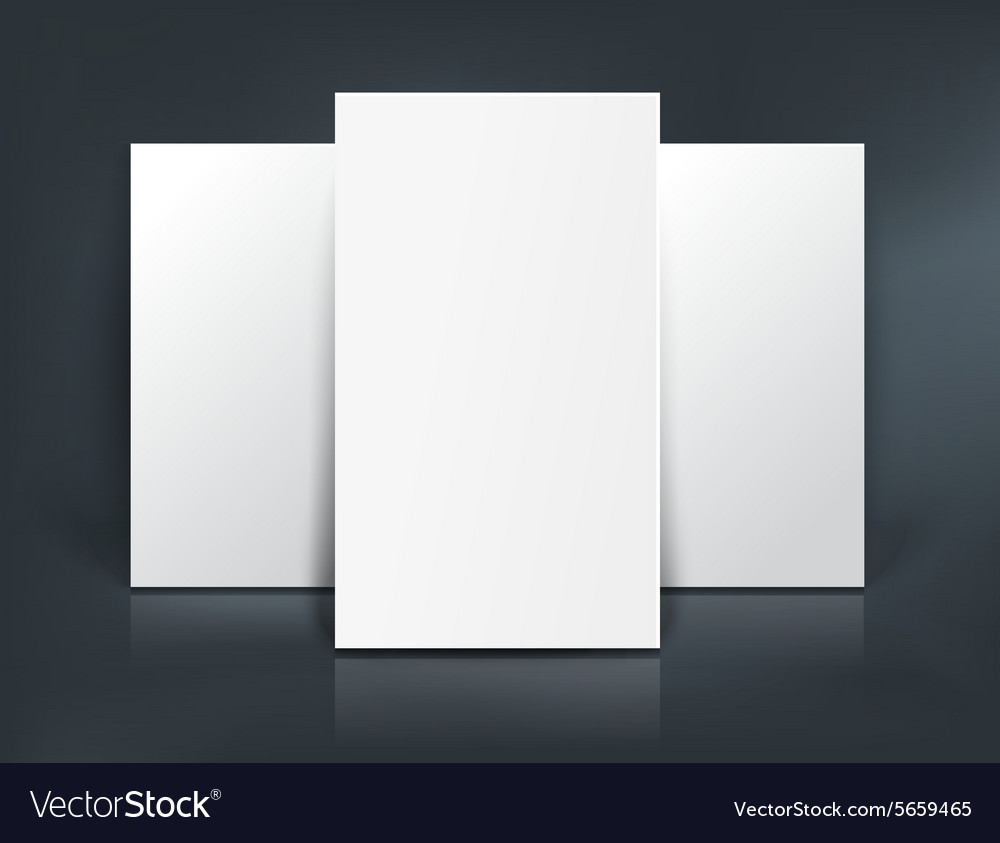 Three paper sheets mockup vector