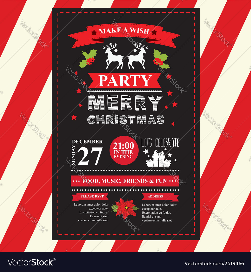 Invitation merry christmas vector