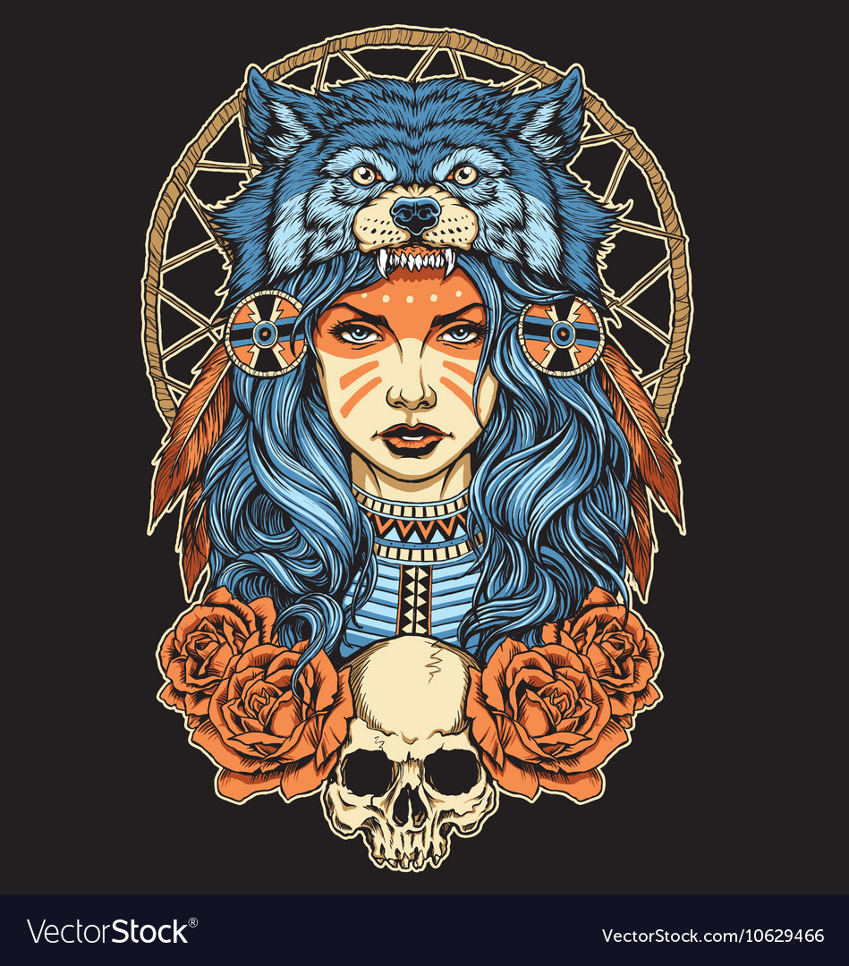 Native american girl with wolf headdress full colo vector
