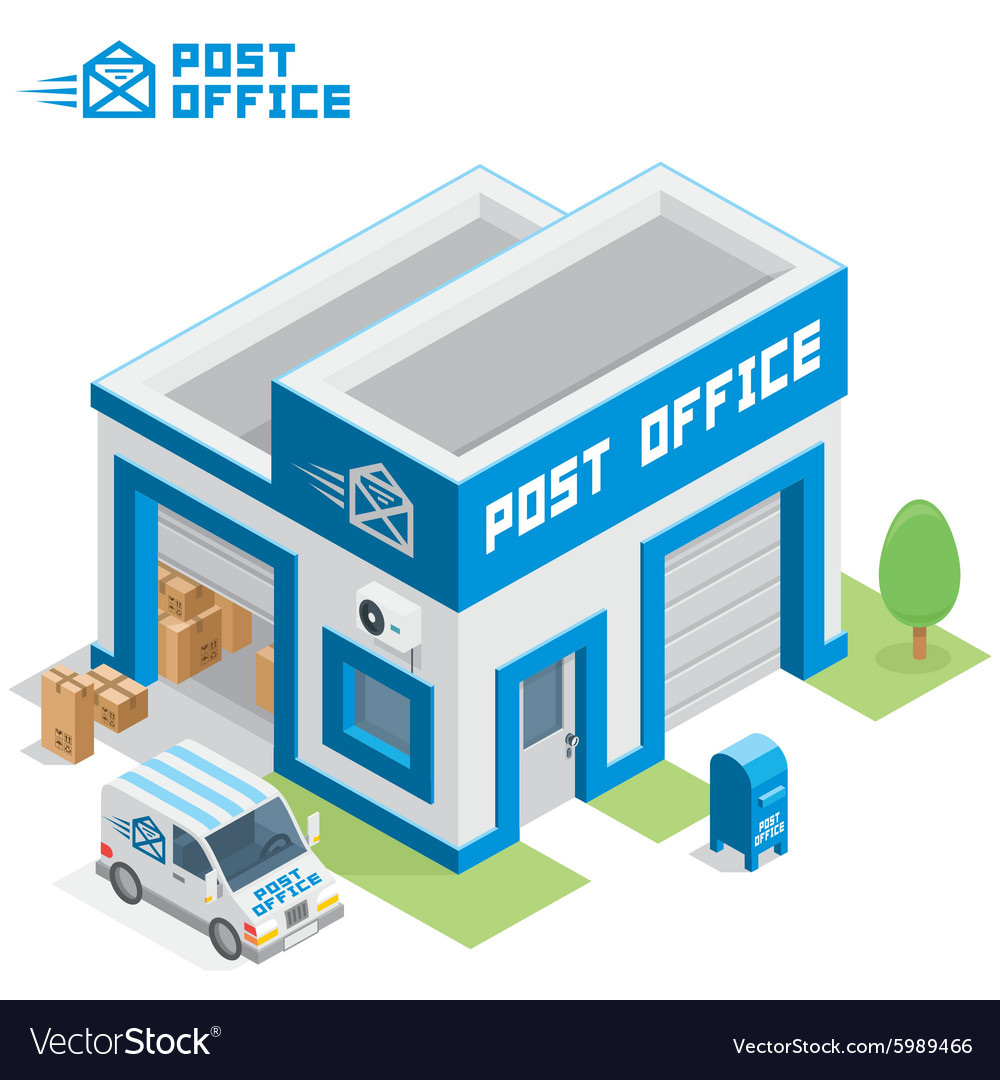Post office building vector