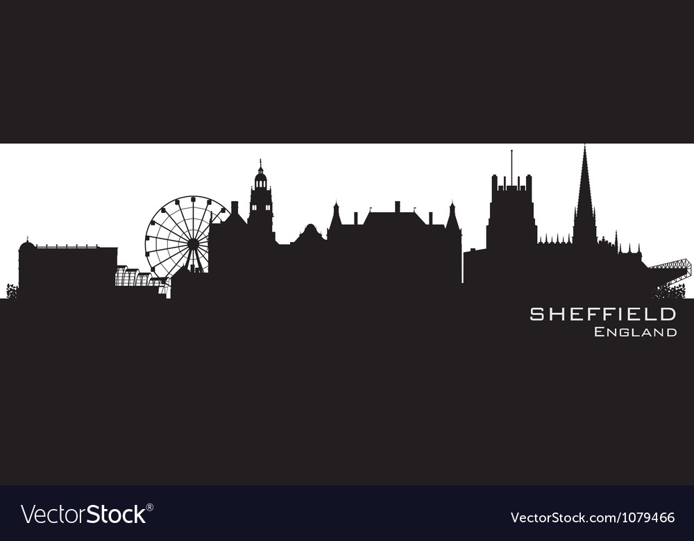 Sheffield england skyline detailed silhouette vector