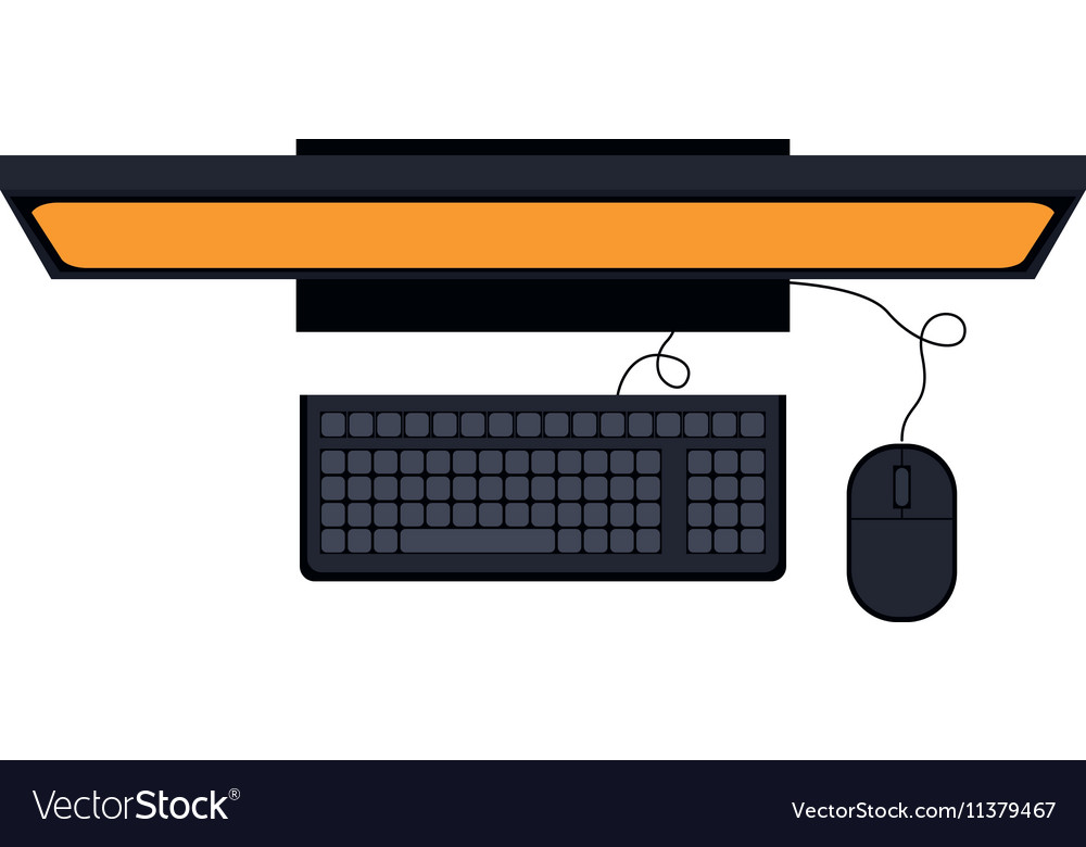 Tech computer desk with keyboard and mice vector
