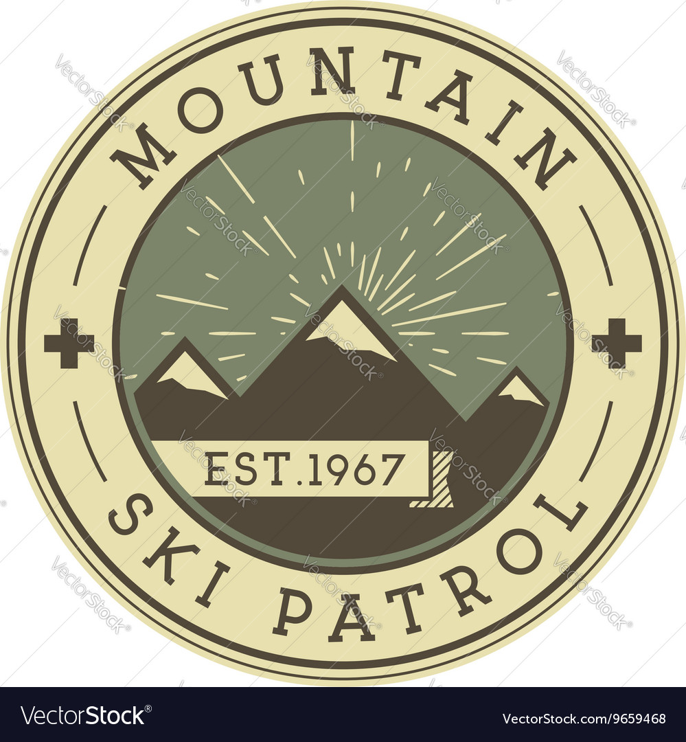 Camping label vintage mountain ski patrol patch vector