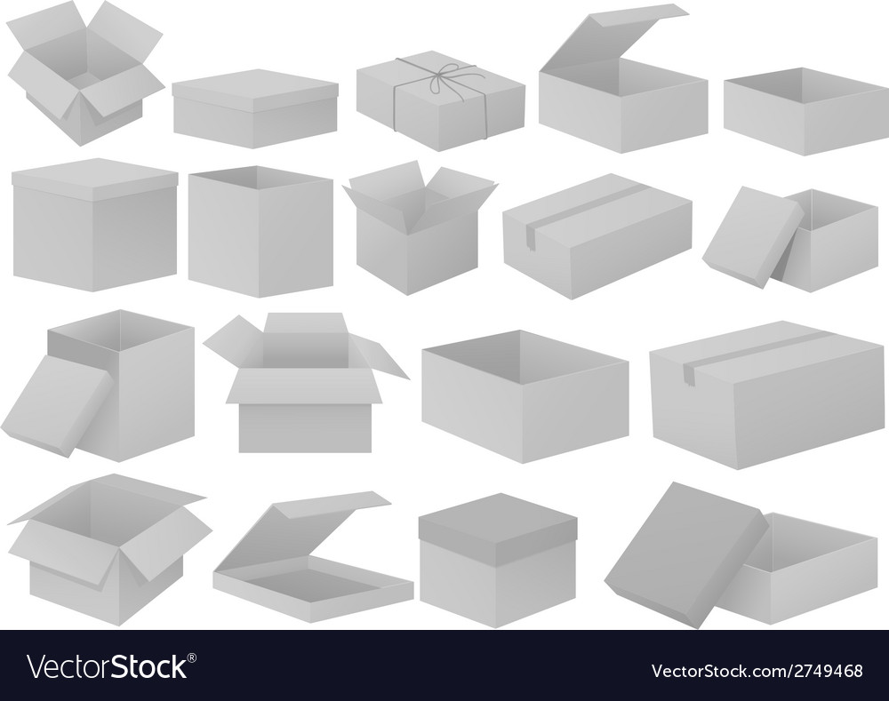 Grey cardboard boxes vector
