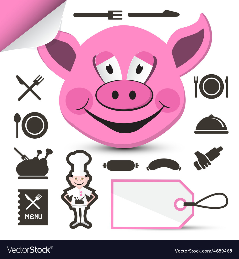 Pink pig head  chef and restaurant menu icons set vector