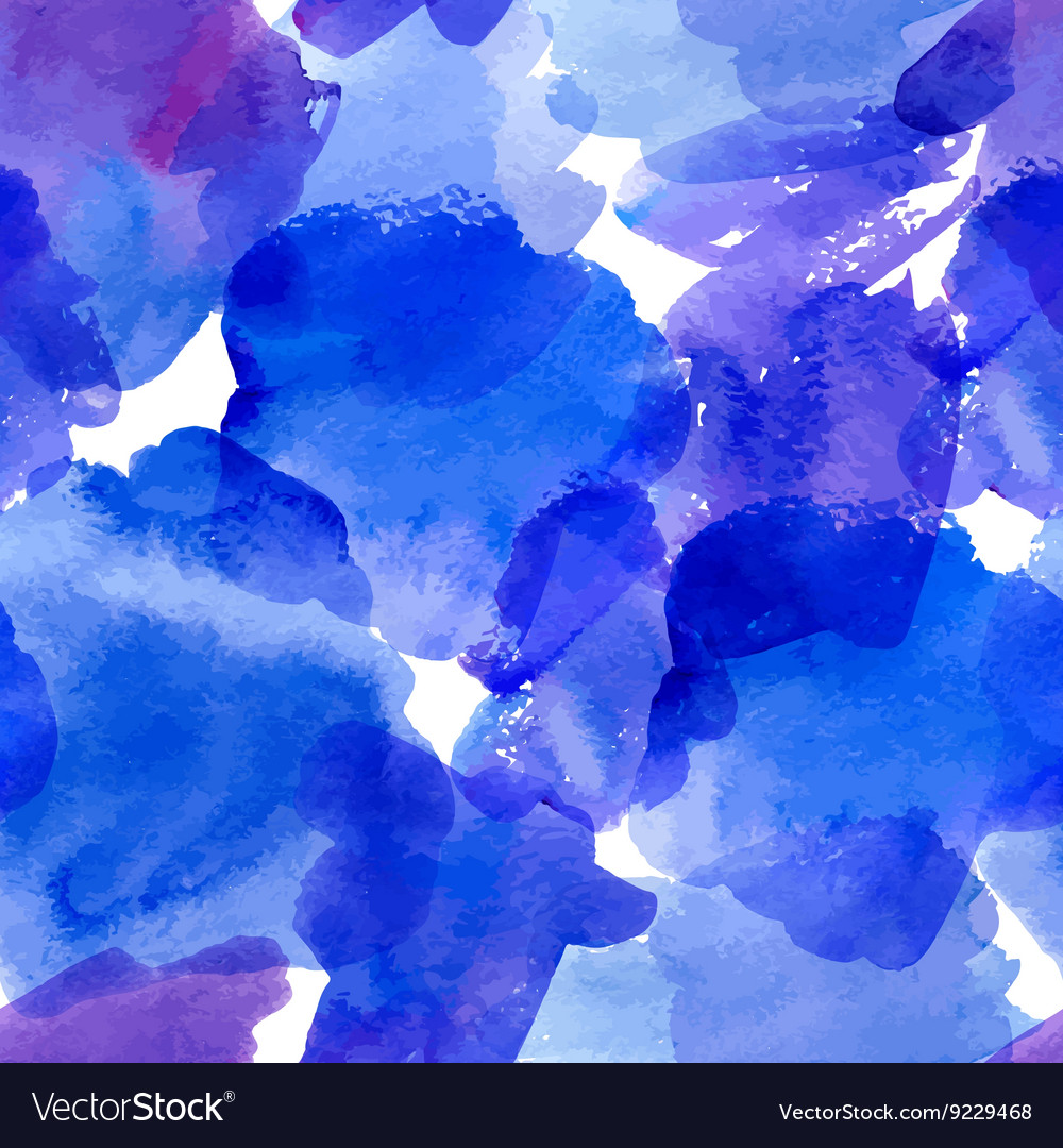 Seamless pattern with blue watercolor stains vector