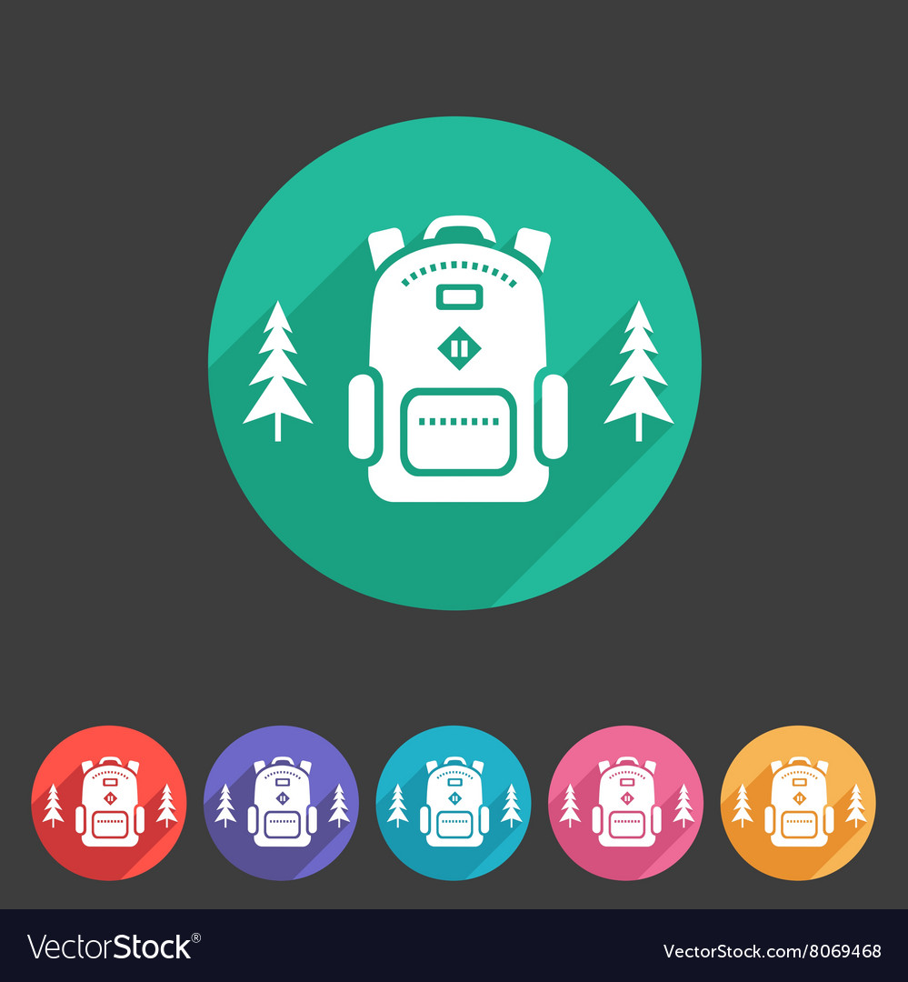 Travel rucksack backpack icon flat web sign vector