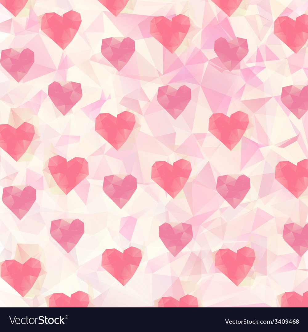 Triangle hearts background vector