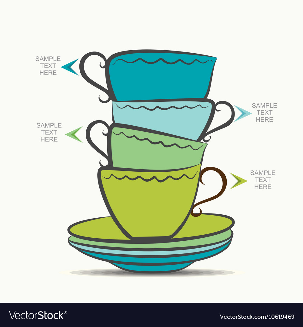 Creative tea cup and plate infographics design vector