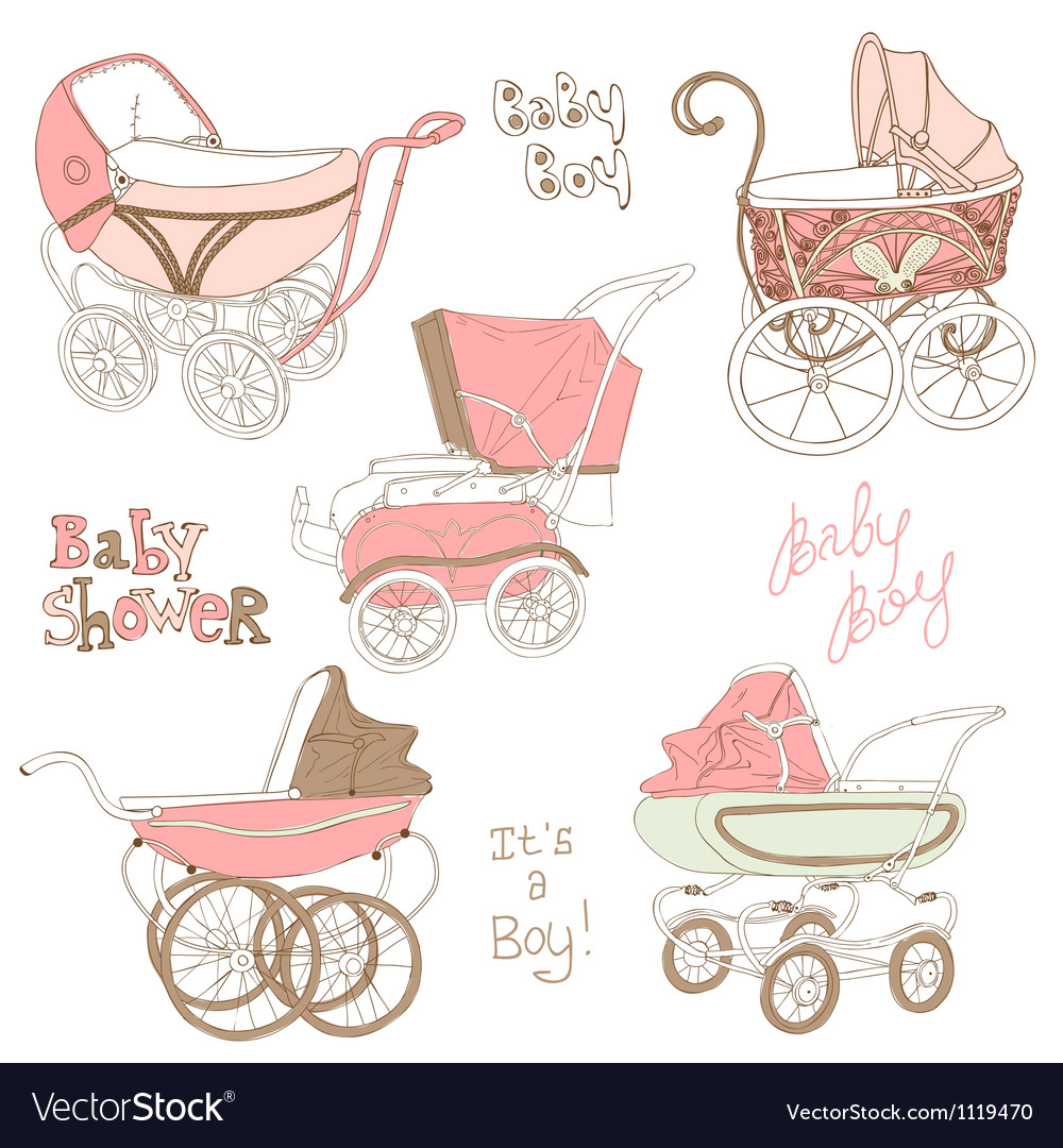 Baby carriage set vector