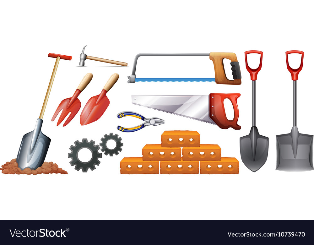 Different kinds of construction tools vector