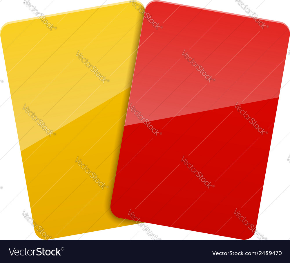 Red yellow football soccer cards vector