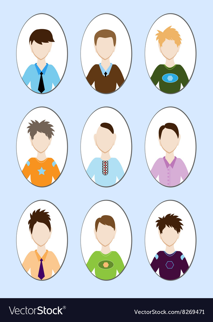 Cartoon of a handsome young man with various hair vector