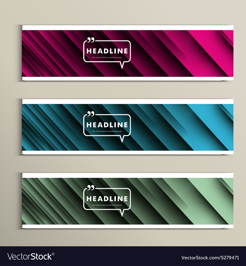 Lines on a colored background set banners vector