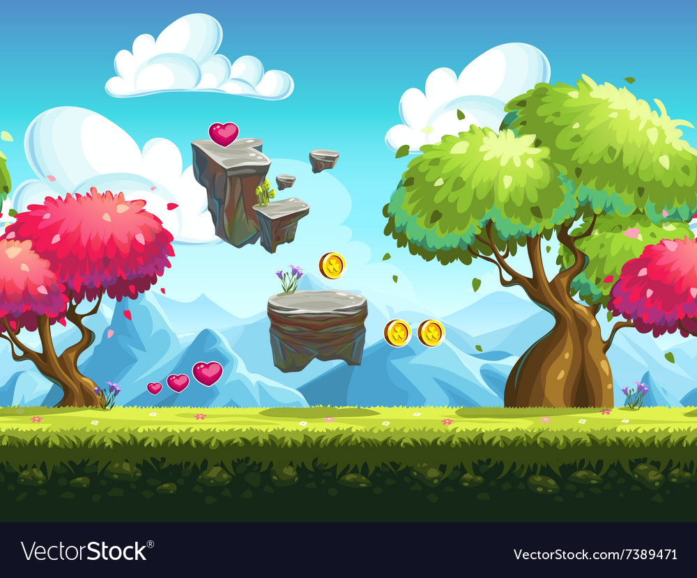 Seamless background flying stones vector