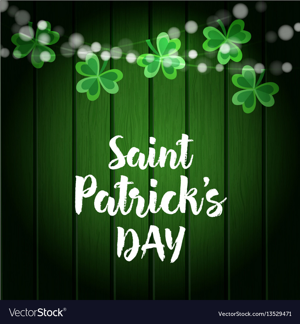 St patricks day green wooden background with vector