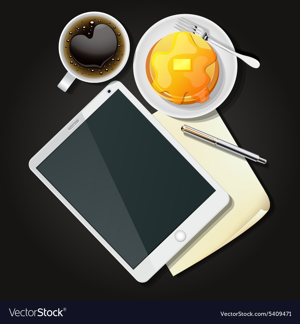 Tablet with black coffee and pancake vector