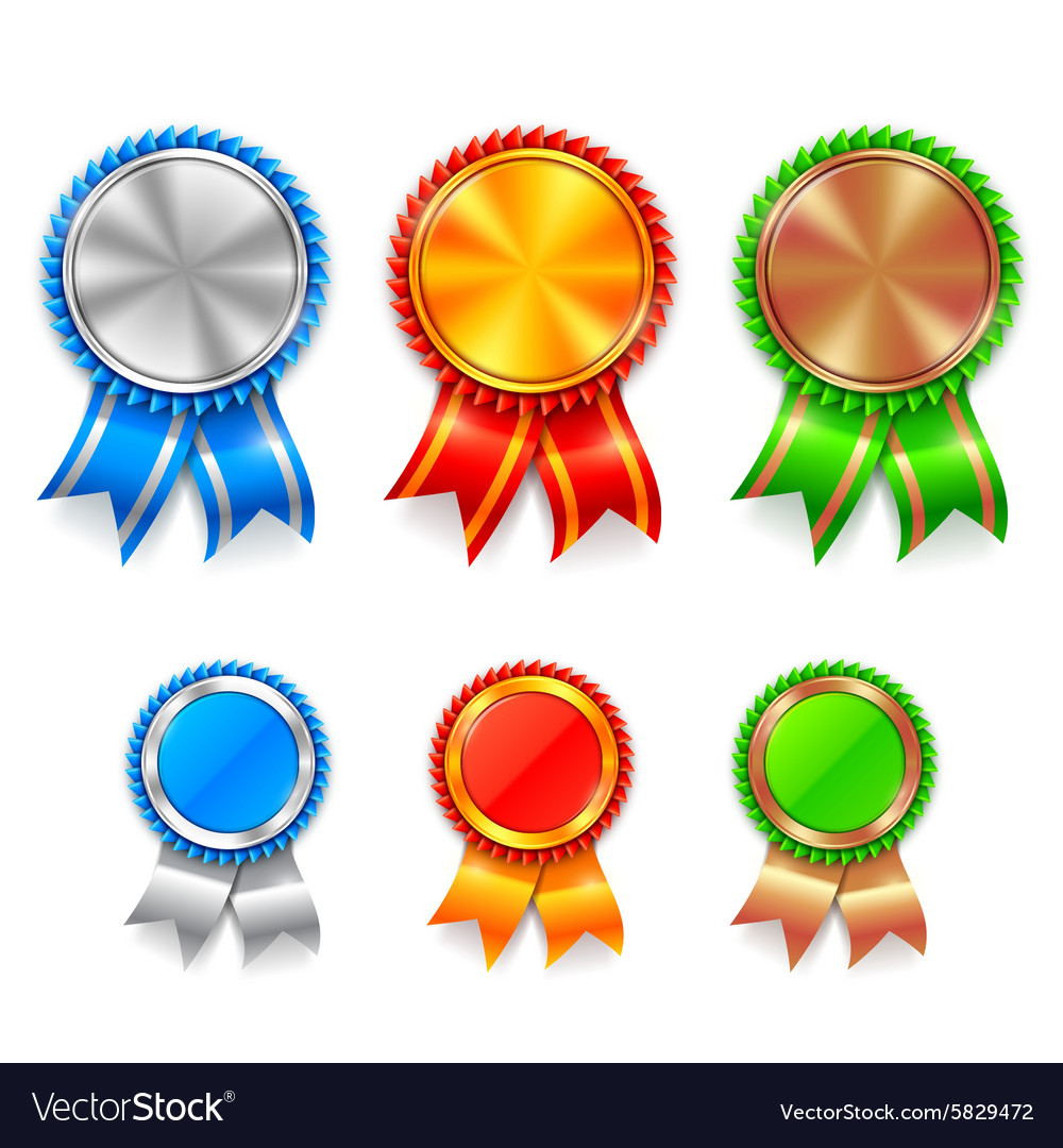 Color award medals vector
